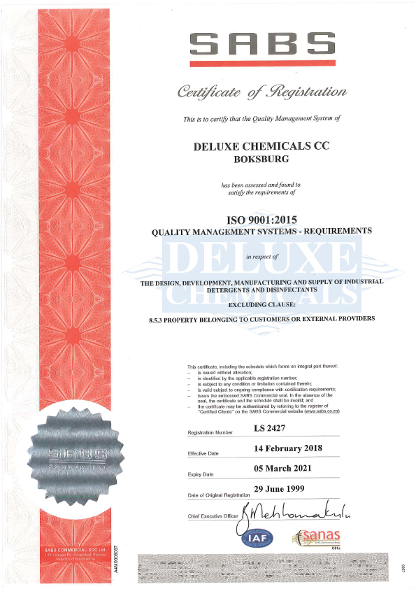 Certificate for quality management systems ISO 9001:2015