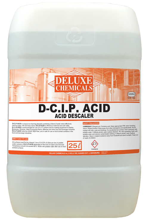 Acid descaler used to descale scale, milk and beer stone from C.I.P systems in the Foo and Beverage Industry.