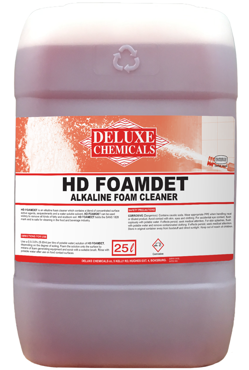 Alkaline foam cleaner for use on stainless steel food contact surfaces.