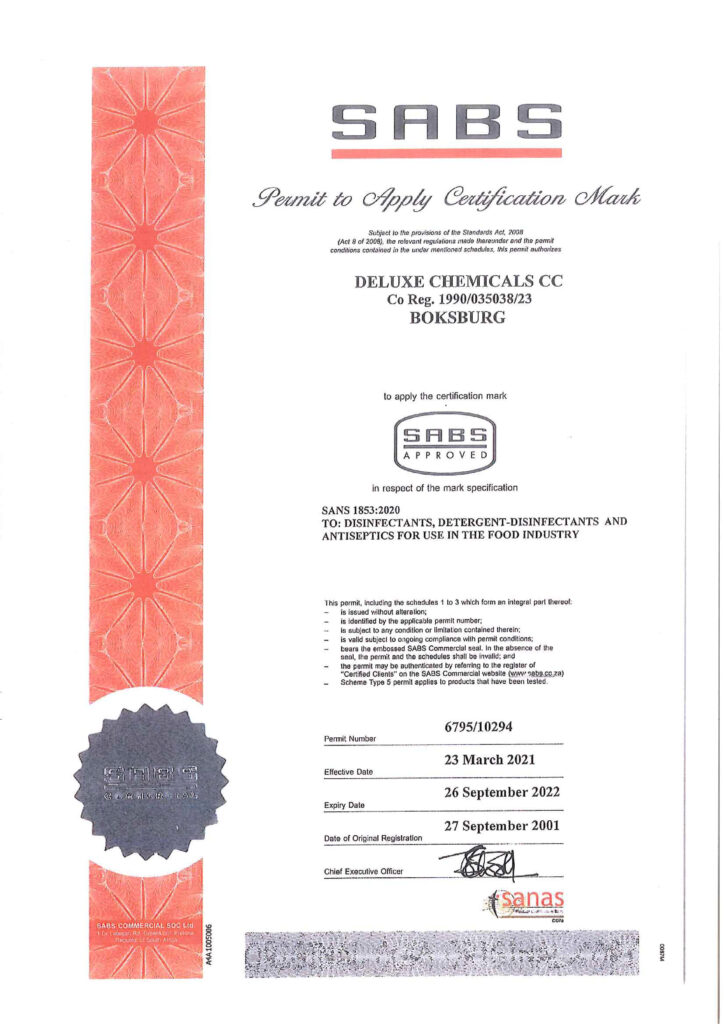 Deluxe Chemicals SANS 1853 certification for disinfectants